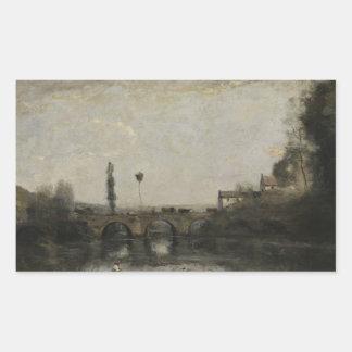 Jean-Baptiste-Camille Corot -Landscape with Bridge Rectangular Sticker