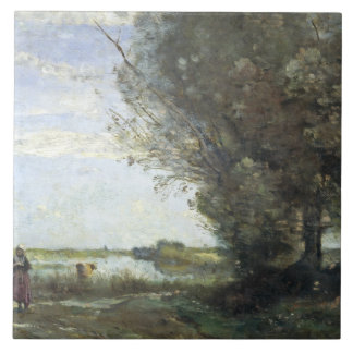 Jean-Baptiste-Camille Corot - River View Large Square Tile