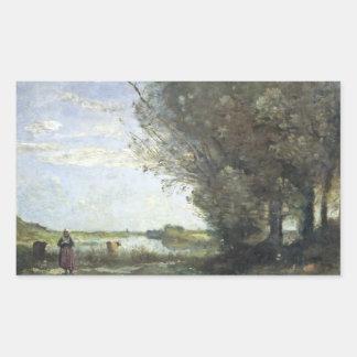 Jean-Baptiste-Camille Corot - River View Rectangular Sticker