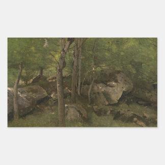 Jean-Baptiste-Camille Corot - Rocks in the Forest Rectangular Sticker