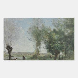 Jean-Baptiste-Camille Corot - Souvenir of Coubron Rectangular Sticker