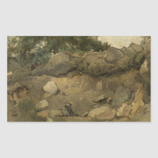 Jean-Baptiste-Camille Corot - Stone Mine Rectangular Sticker