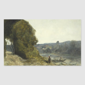 Jean-Baptiste-Camille Corot - The Departure Rectangular Sticker