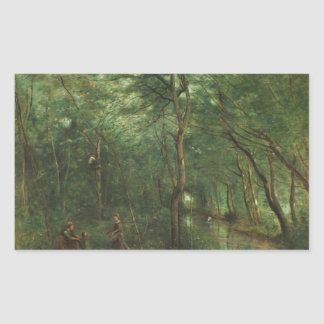 Jean-Baptiste-Camille Corot - The Eel Gatherers Rectangular Sticker