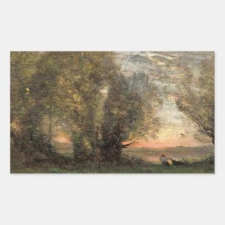 Jean-Baptiste-Camille Corot - The Fisherman Rectangular Sticker