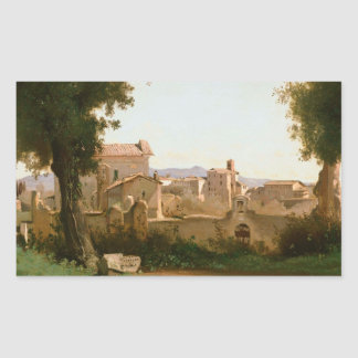 Jean-Baptiste-Camille Corot -View from the Farnese Rectangular Sticker
