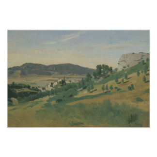 Jean-Baptiste-Camille Corot - View of Olevano Poster