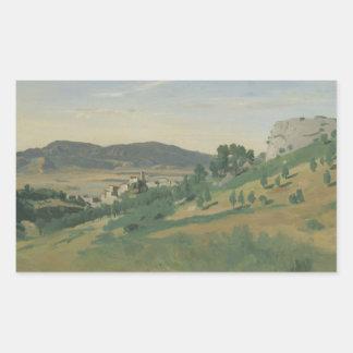 Jean-Baptiste-Camille Corot - View of Olevano Rectangular Sticker