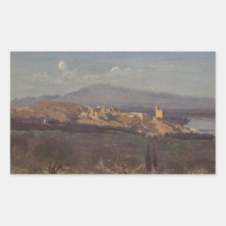 Jean-Baptiste-Camille Corot-Villeneuve-les-Avignon Rectangular Sticker