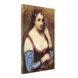 Jean-Baptiste-Camille Corot - Woman with daisies Canvas Prints