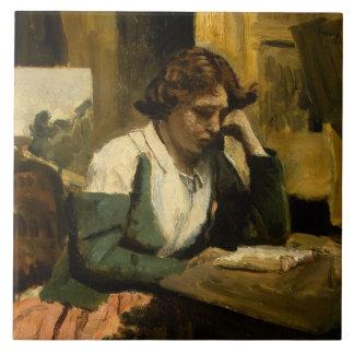 Jean-Baptiste-Camille Corot - Young Girl Reading Ceramic Tile