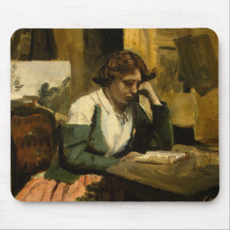 Jean-Baptiste-Camille Corot - Young Girl Reading Mouse Pad