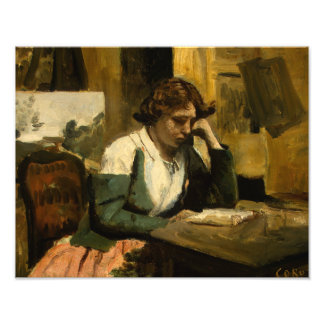 Jean-Baptiste-Camille Corot - Young Girl Reading Photo Print