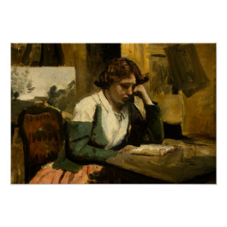 Jean-Baptiste-Camille Corot - Young Girl Reading Poster