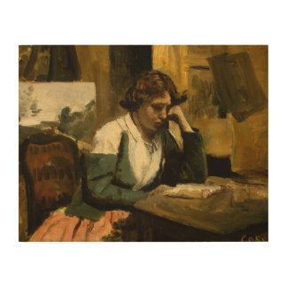 Jean-Baptiste-Camille Corot - Young Girl Reading Wood Wall Decor