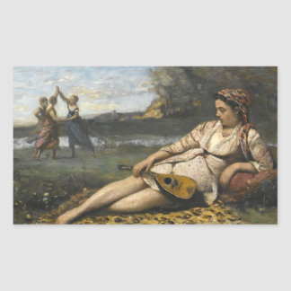 Jean-Baptiste-Camille Corot -Young Women of Sparta Rectangular Sticker