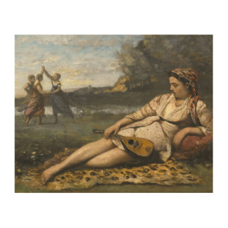 Jean-Baptiste-Camille Corot -Young Women of Sparta Wood Wall Art