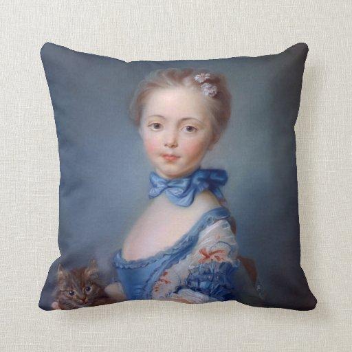 Jean-Baptiste Perronneau: Girl with Kitten Throw Pillows