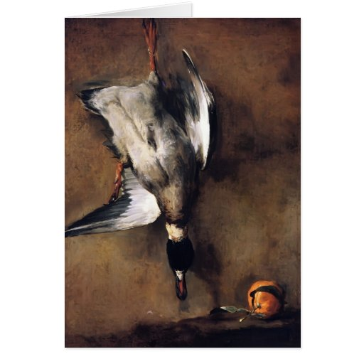 Jean Chardin:Green Neck Duck with a Seville Orange Greeting Card