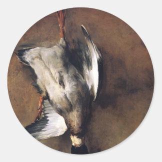 Jean Chardin:Green Neck Duck with a Seville Orange Round Sticker