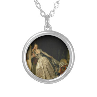 Jean-Honore Fragonard - The Stolen Kiss - Fine Art Silver Plated Necklace