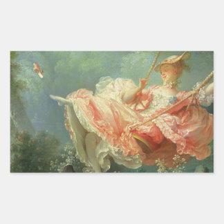 Jean-Honore Frangonard's rococo painting The Swing Rectangular Sticker