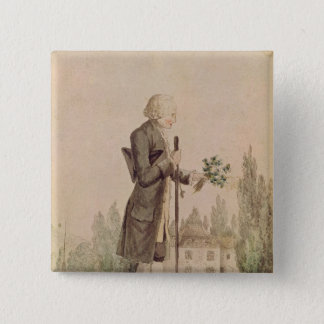 Jean-Jacques Rousseau  Gathering Herbs 15 Cm Square Badge