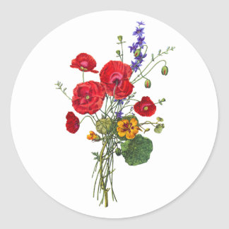Jean Louis Prevost Bright Red Nasturtium Bouquet Round Sticker