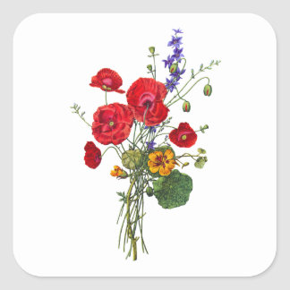 Jean Louis Prevost Bright Red Nasturtium Bouquet Square Sticker