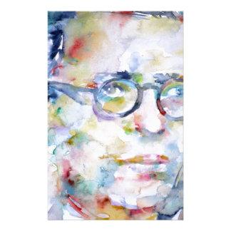 jean paul sartre - watercolor portrait stationery