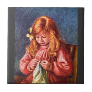 Jean Renoir sewing by Pierre Renoir Ceramic Tile