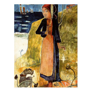 Jeanne d'Arc, or Breton girl spinning Paul Gauguin Postcard