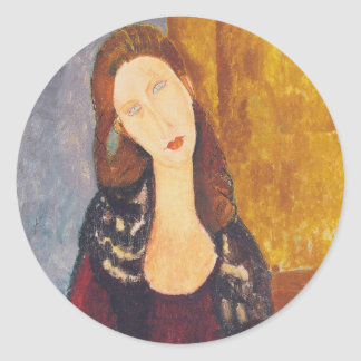 Jeanne Hebuterne portrait by Amedeo Modigliani Classic Round Sticker