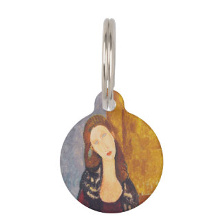 Jeanne Hebuterne portrait by Amedeo Modigliani Pet Name Tag