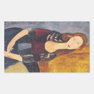 Jeanne Hebuterne portrait by Amedeo Modigliani Rectangular Sticker