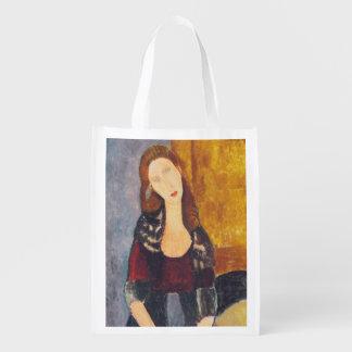Jeanne Hebuterne portrait by Amedeo Modigliani Reusable Grocery Bag