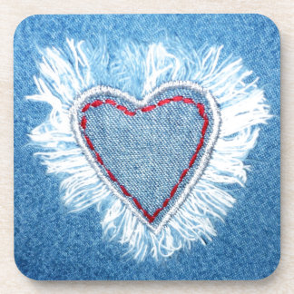 Jeans artistic heart design drink coaster