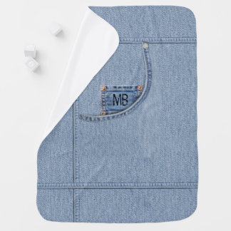 """""""Jeans"""" Blanket with or without Baby's Initials Swaddle Blankets"""