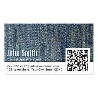 Jeans QR Code Landscape Architect Business Card