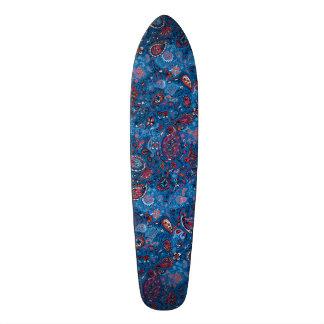 Jeanse traditional paisley floral blue pattern 18.1 cm old school skateboard deck