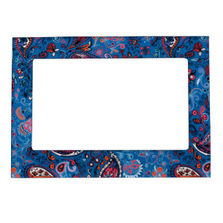 Jeanse traditional paisley floral blue pattern photo frame magnet