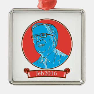 Jeb 2016 President Drawing Silver-Colored Square Decoration
