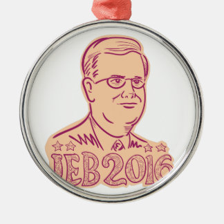 Jeb Bush 2016 President Cartoon Silver-Colored Round Decoration