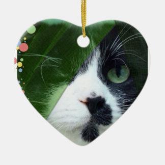 Jeb Cat Ceramic Heart Decoration