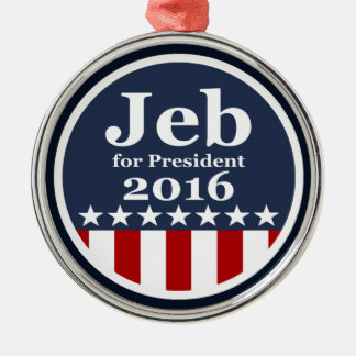 Jeb for President 2016 Silver-Colored Round Decoration