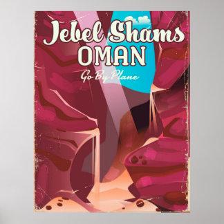 Jebel Shams, Oman vintage travel poster. Poster