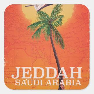 Jeddah Saudi Arabia Vacation poster Square Sticker