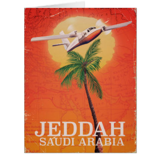 Jeddah Saudi Arabia vintage map travel poster. Card