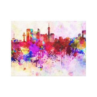 Jeddah skyline in watercolor background canvas print