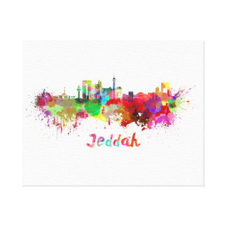 Jeddah skyline in watercolor canvas print